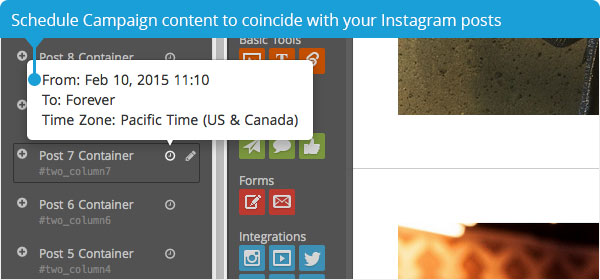 Schedule Campaign content to coincide with your Instagram posts
