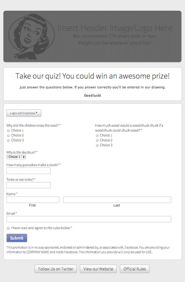 quiz format template
