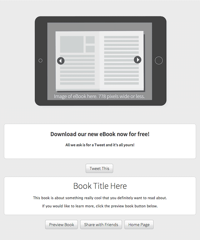 Tweet to Download eBook Template