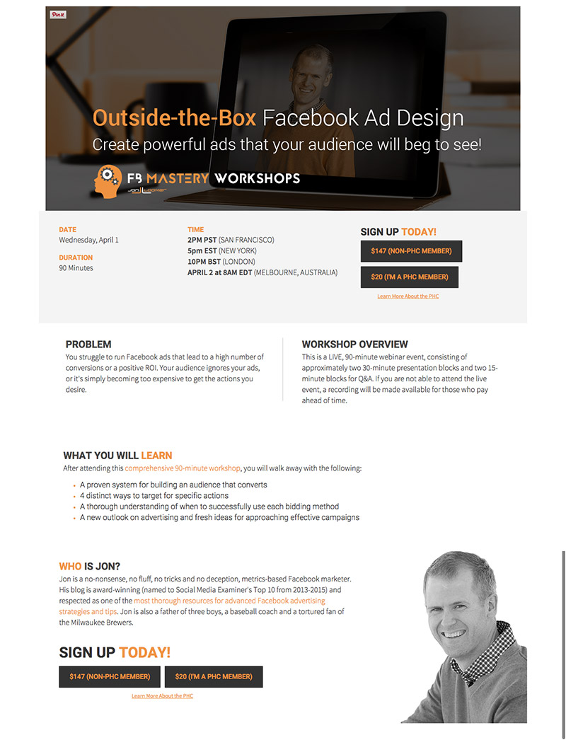 long landing page example