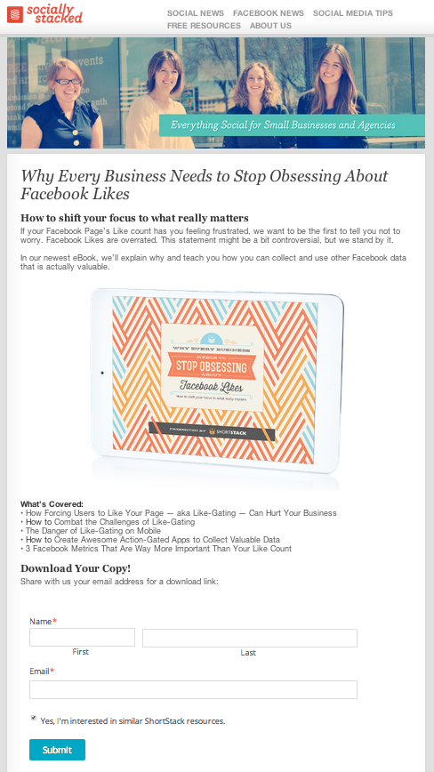 Likes eBook Landing Page