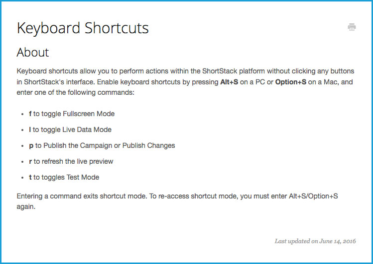 StorkStack Keyboard Shortcuts