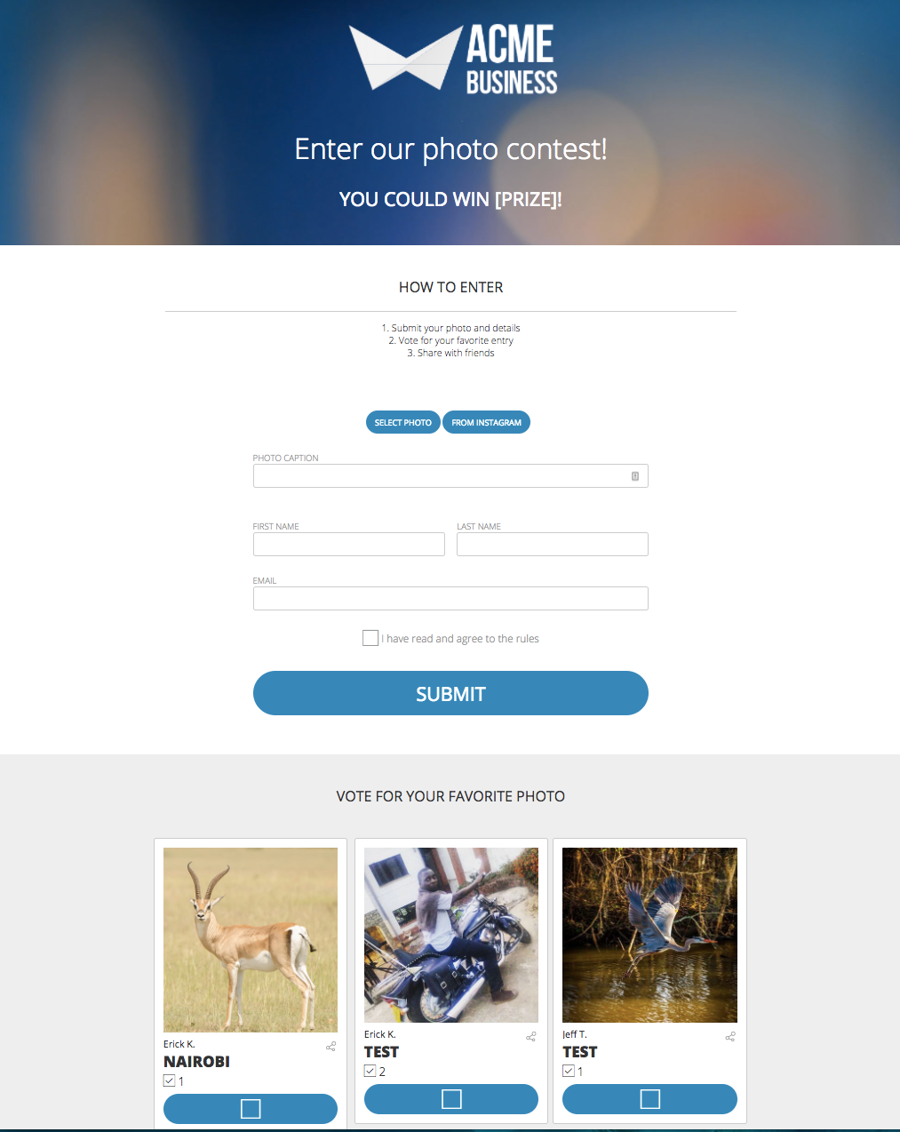 Steps To Running A Successful Contest ShortStack - Photo contest website template