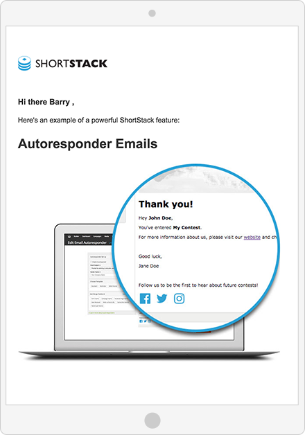 Personalized email from ShortStack