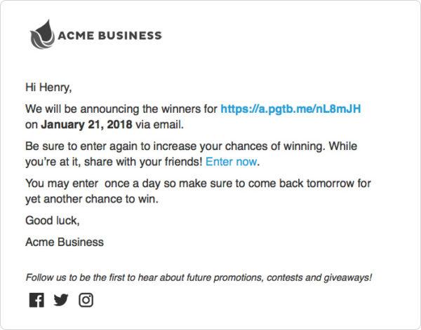 Contest Promo Email