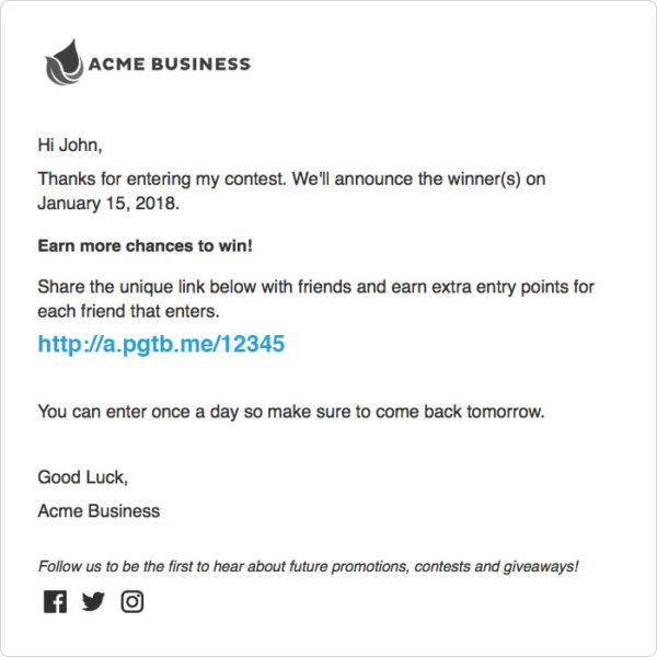 Referral Link Email Template