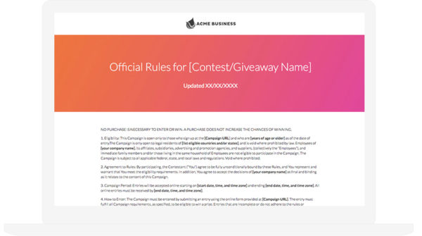 Contest Rules Template