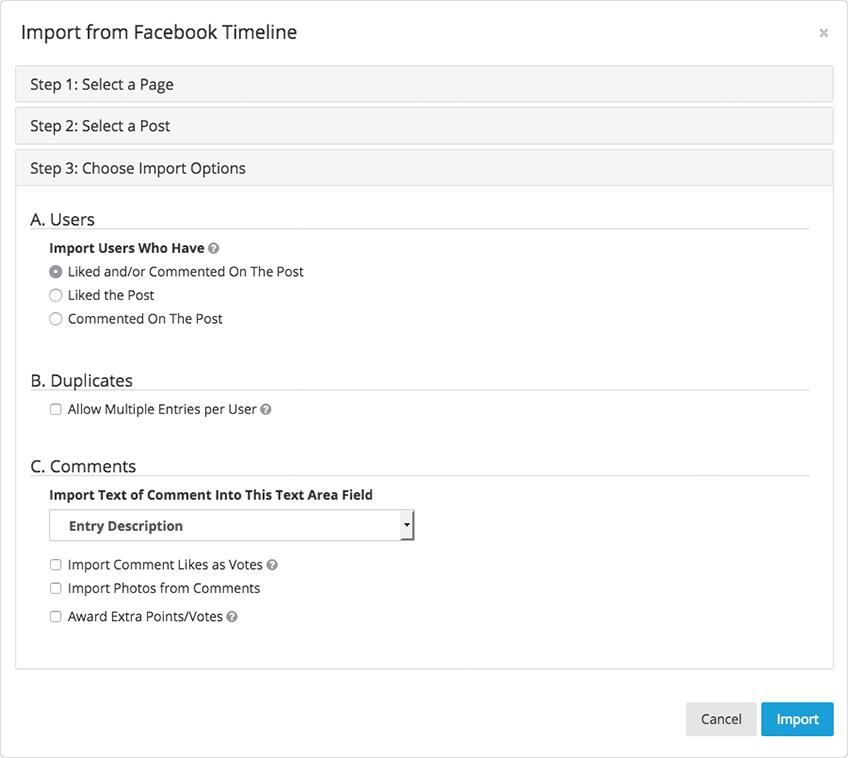 Facebook importer