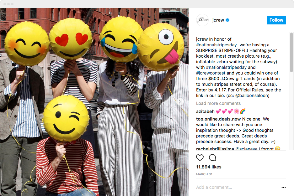 heres an example from j crews hashtag contest one they ran for the national stripes day a holiday that doesnt get nearly enough attention
