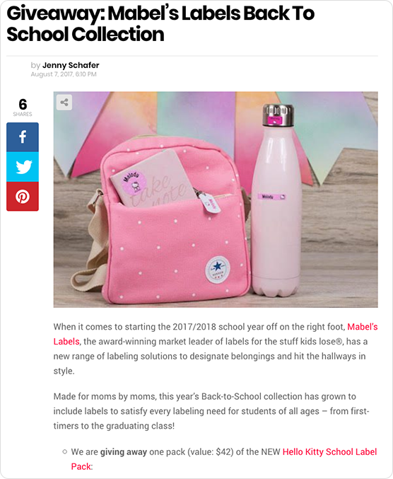 Mabel's Labels Back to School giveaway