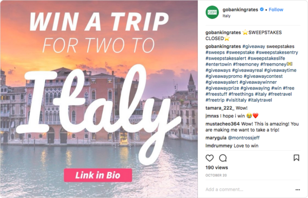 """Use the word """"giveaway"""" on your branded image"""