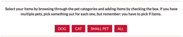 Pet Valu wishlist item categories
