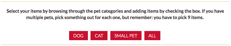 Pet Valu wishlist item categories