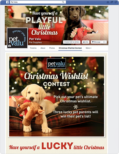 Pet Valu's Facebook page featuring their Wishlist Contest