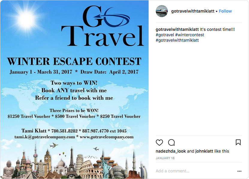 Winter Escape contest from Go Travel