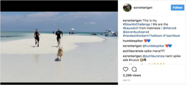 Thousands of people entered The Rocks' #slowmochallenge contest by posting their own take on Baywatch's iconic slow motion shots.
