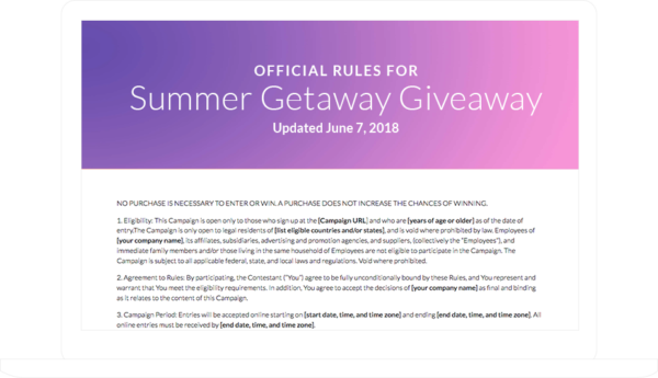 Contest Rules Landing Page