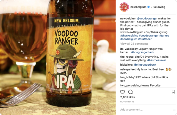 Hashtag usage by New Belgium Beers