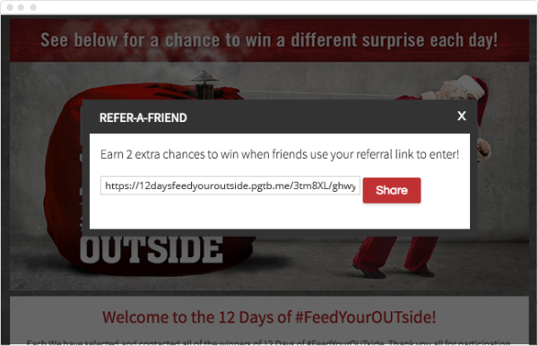 ShortStack's Refer-a-Friend feature encourages sharing