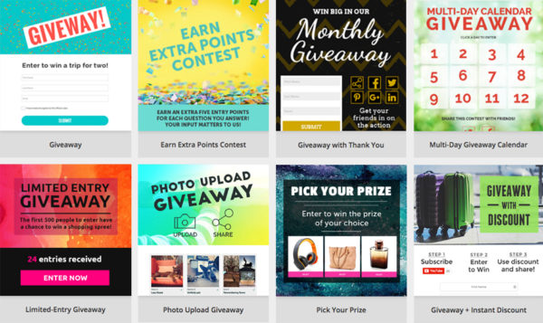 A handful of ShortStack's giveaway templates