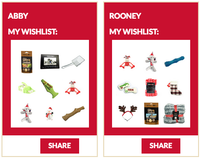 Pet Valu user-generated wishlists