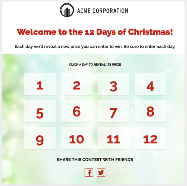 ShortStack's Mulit-Day Giveaway Calendar