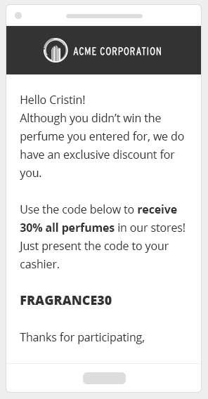 Send discounts to contest participants