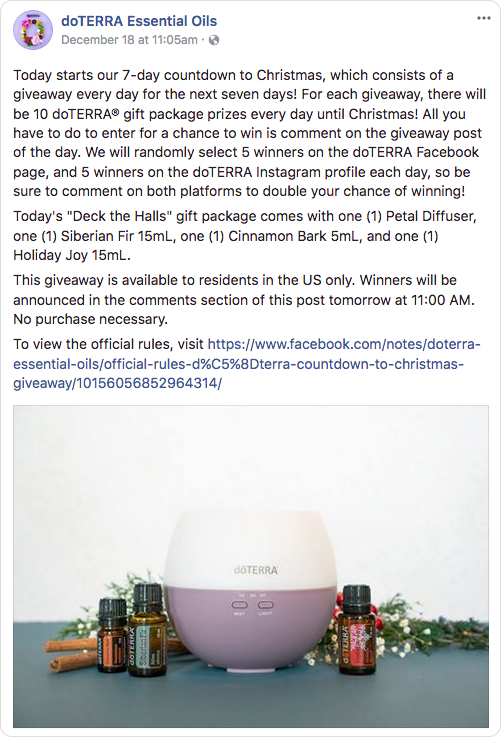 DoTerra Facebook contest