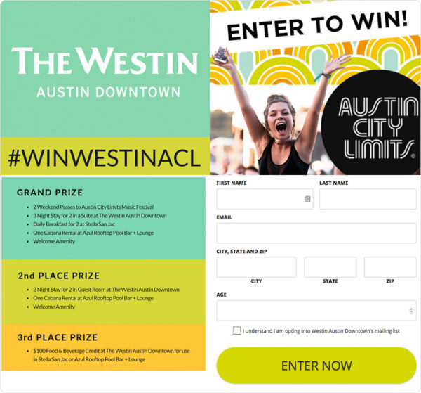 Westin Austin giveaway with survey