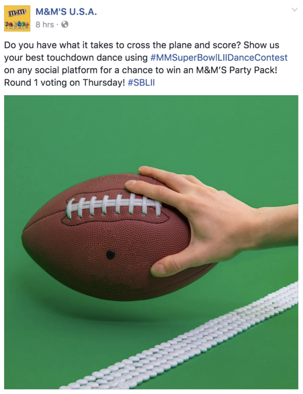 M&M's touchdown dance contest on Facebook