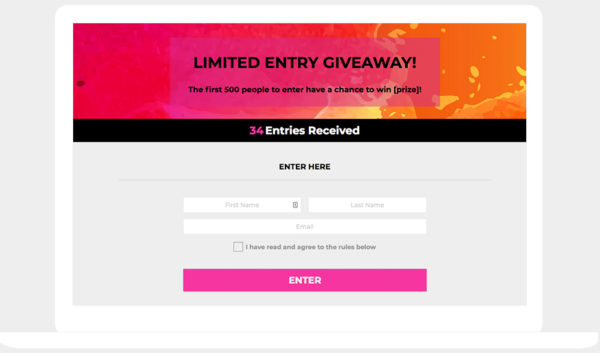 Limited entry giveaway template