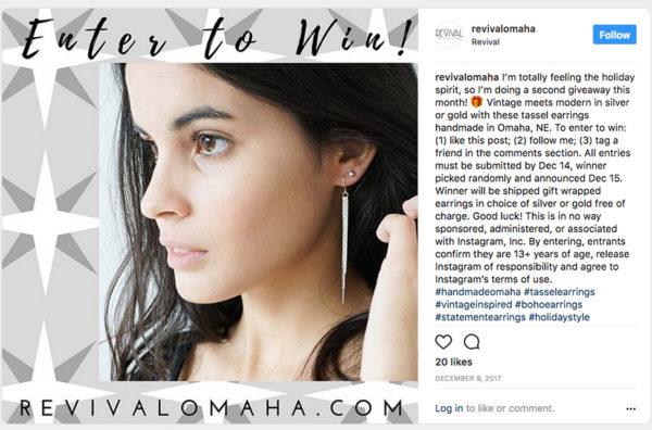 Revival Omaha runs a random winner contest on Instagram