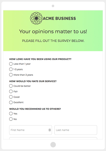 SHortStack's Survey template
