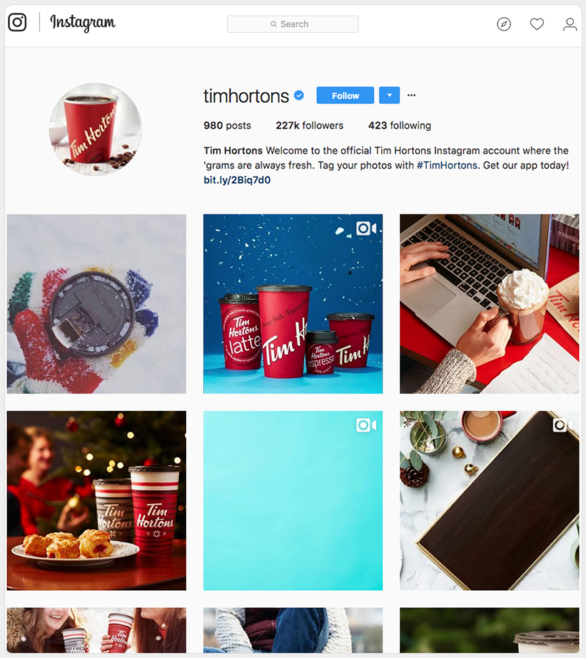 Tim Horton's Instagram profile