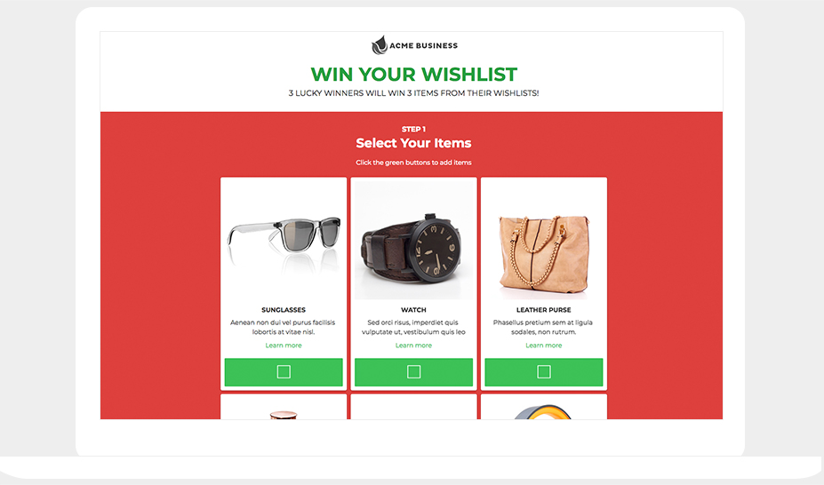 ShortStack's Win Your Wishlist template
