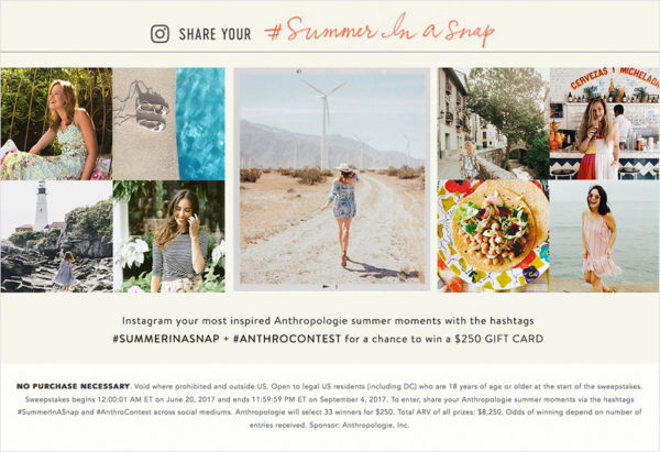 Anthropologie's summer contest