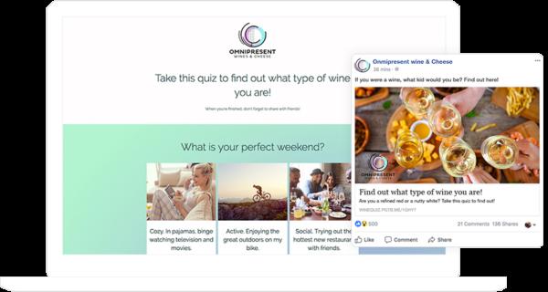 Facebook status update promoting quiz