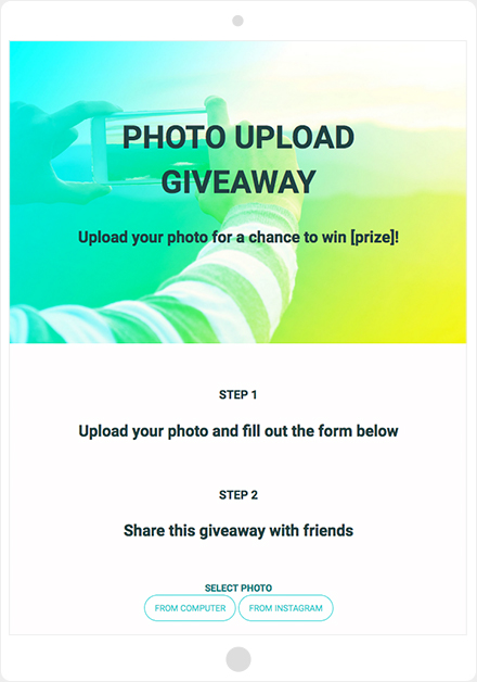 ShortStack's Photo Upload Giveaway template