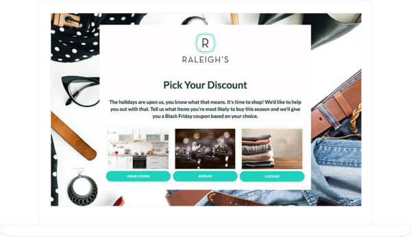 ShortStack's Pick Your Discount template shown on laptop