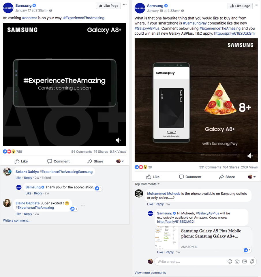 Samsung engages with followers throughout the duration of their contest