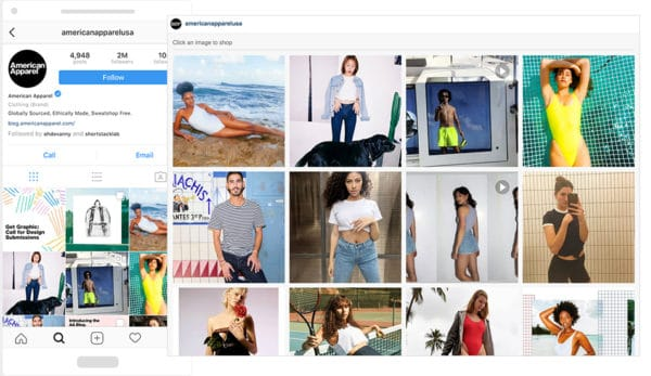 American Apparel links Instagram bio to a gallery where users can shop