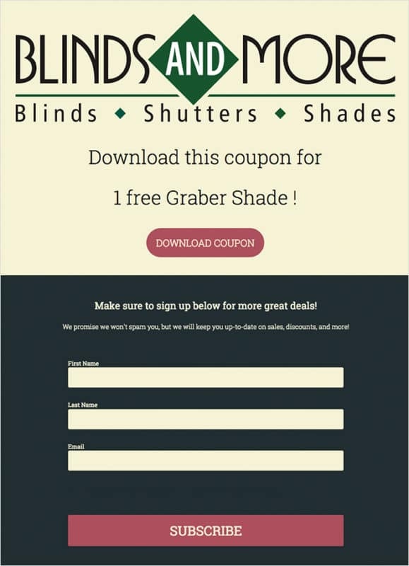 Blinds and More coupon built with ShortStack