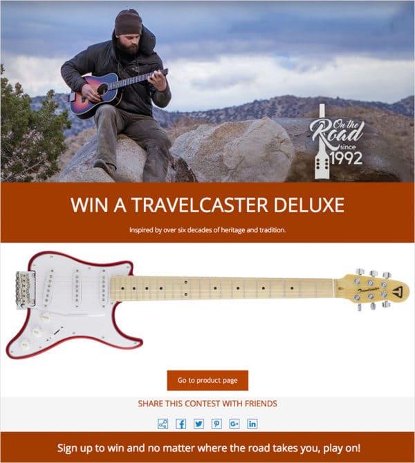 Traveler Guitar Giveaway built with ShortStack