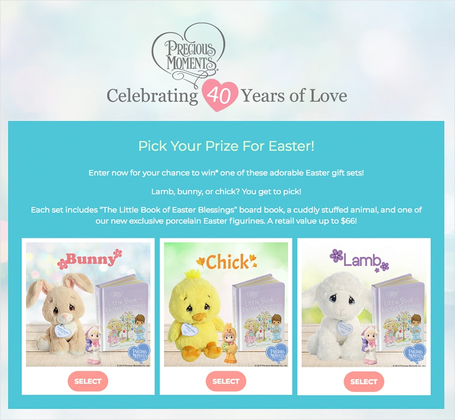 Precious Moment's Pick Your Prize contest built with ShortStack