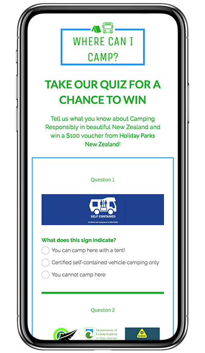 "Holiday Parks New Zealand's ""Where Can I Camp?"" Trivia Quiz and Sweepstakes"
