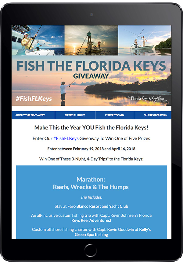 "The Monroe County Tourist Development Council's ""#FishFLKeys"" Trip Giveaway with Sub-Navigation"