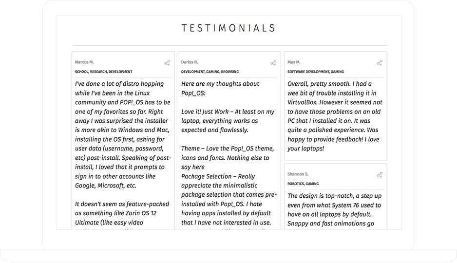system76 collected valuable testimonials using ShortStack