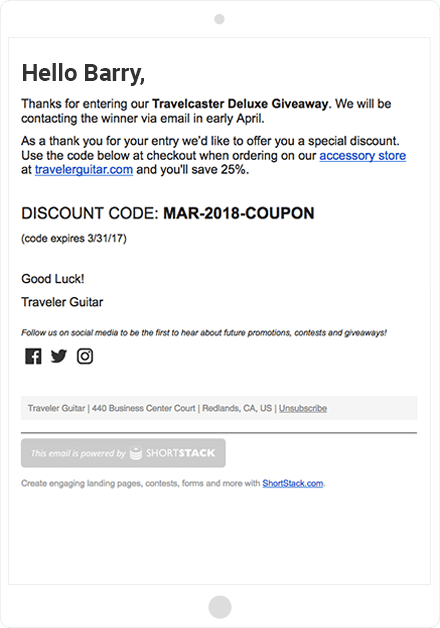 Traveler Guitar entry confirmation email and discount