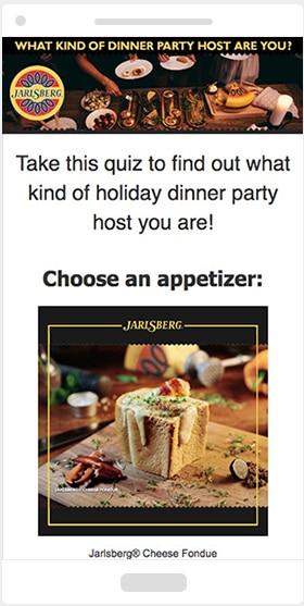 Jarlsberg's Persaonlity Quiz on mobile phone