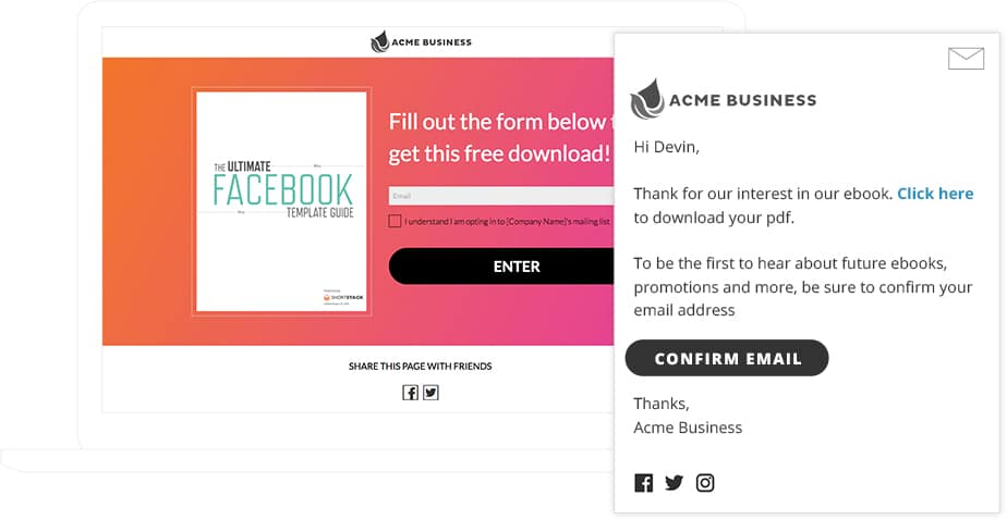 Downloadable Content Template with Double Opt-in Email